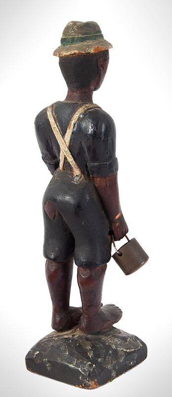 Folk Art Carving, Man Carrying Pail, Original Paint Anonymous, entire view 4
