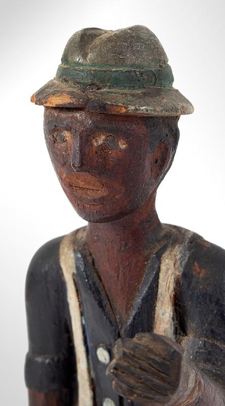 Folk Art Carving, Man Carrying Pail, Original Paint Anonymous, detail view 1