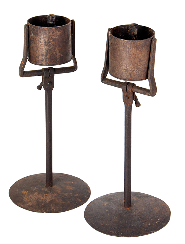 Pair, Gimbled Kettle Lamps, Fat Lamps on Stands, Grease, Lard, entire view