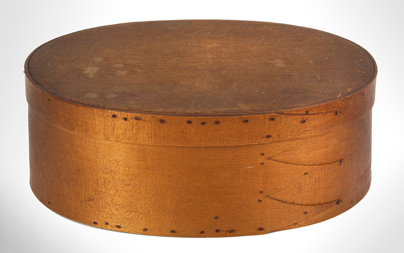Shaker Bentwood Box, Oval, Three Fingers…One on Lid Probably Mt. Lebanon, New York, entire view