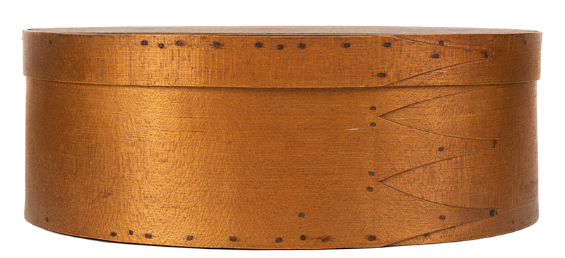 Shaker Bentwood Box, Oval, Three Fingers…One on Lid Probably Mt. Lebanon, New York, entire view 2