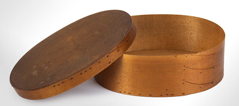 Shaker Bentwood Box, Oval, Three Fingers…One on Lid Probably Mt. Lebanon, New York, entire view 3
