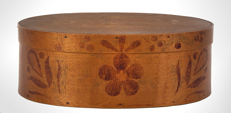 Shaker Bentwood Box, Oval, Three Fingers…One on Lid Probably Mt. Lebanon, New York, entire view 4