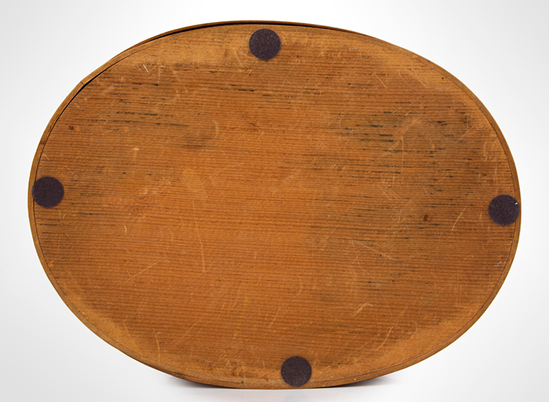 Shaker Bentwood Box, Oval, Three Fingers…One on Lid Probably Mt. Lebanon, New York, entire view 5