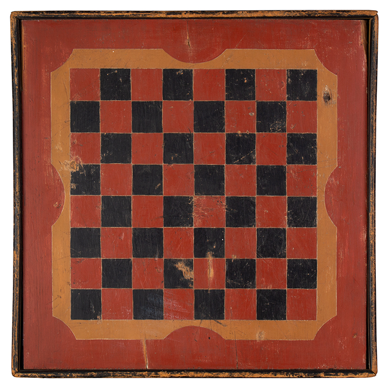 Antique, Painted Gameboard, Checkerboard, entire view