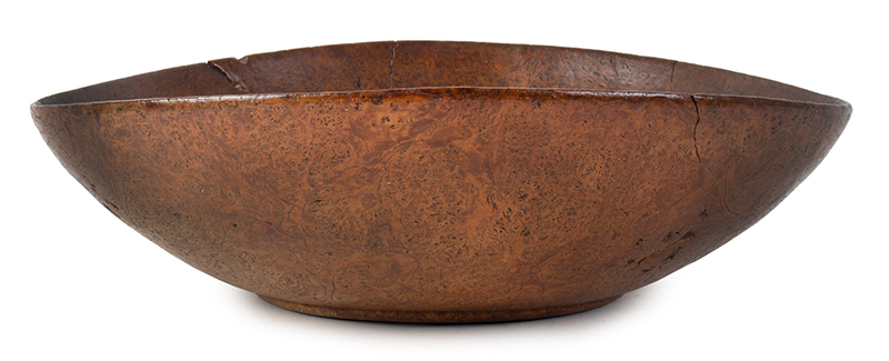 Burl Bowl, Nearly paper Thin, Great Color & Patina New England, entire view 1