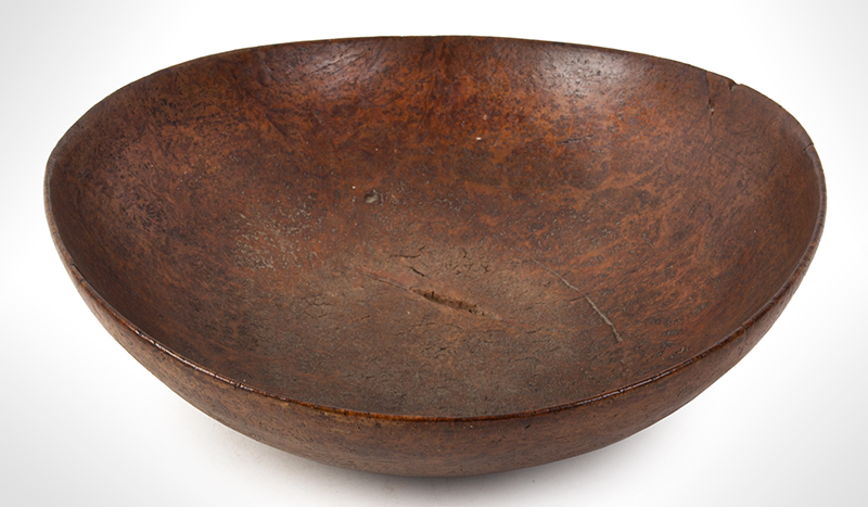 Burl Bowl, Nearly paper Thin, Great Color & Patina New England, entire view 3
