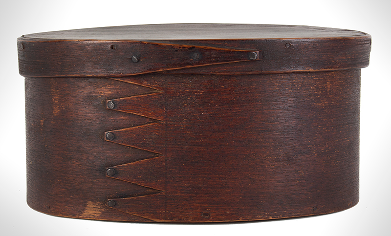 Oval Fingered Pantry Spice Boxes, Original Paint, Inscribed, ginger view 1
