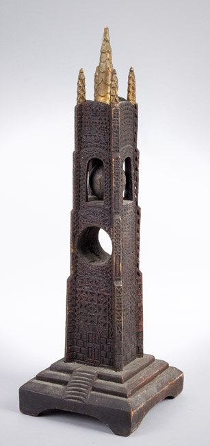 Carved, Pierced, and Painted Architectural Whimsey Tower, Obelisk, Puzzle Ball, entire view 2