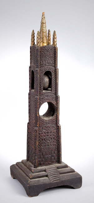 Carved, Pierced, and Painted Architectural Whimsey Tower, Obelisk, Puzzle Ball, entire view 3