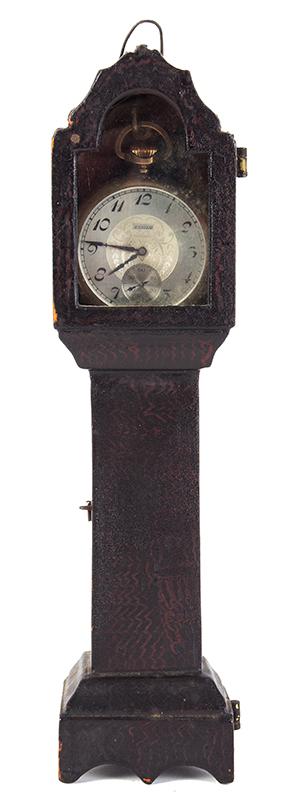 Watch Hutch, Tall Clock Form Watch Stand, Original Paint, Elgin Pocket Watch, entire view 1