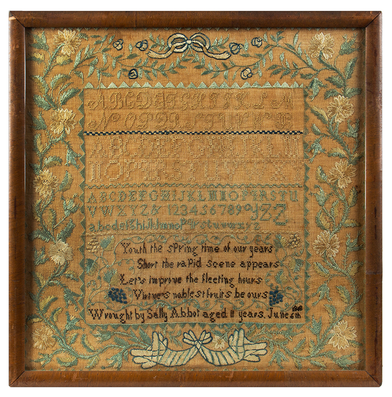 Nineteenth Century Needlework Sampler, Sally Abbot, Peterborough, New Hampshire Wrought by Sally Abbot aged 11 years. June 6, 1818, entire view