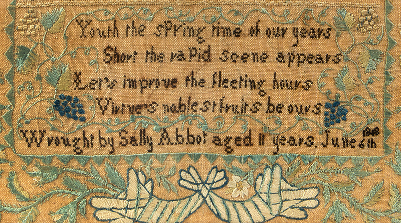 Nineteenth Century Needlework Sampler, Sally Abbot, Peterborough, New Hampshire Wrought by Sally Abbot aged 11 years. June 6, 1818, detail view 1