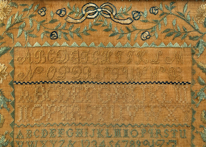 Nineteenth Century Needlework Sampler, Sally Abbot, Peterborough, New Hampshire Wrought by Sally Abbot aged 11 years. June 6, 1818, detail view 2