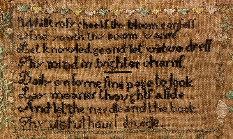 19th Century Needlework Sampler, Maria Cressy, Bradford, New Hampshire, detail view 2