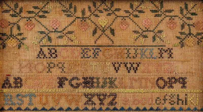 Nineteenth Century Needlework Sampler, Mary Miller, Lancaster, Pennsylvania, detail view 2