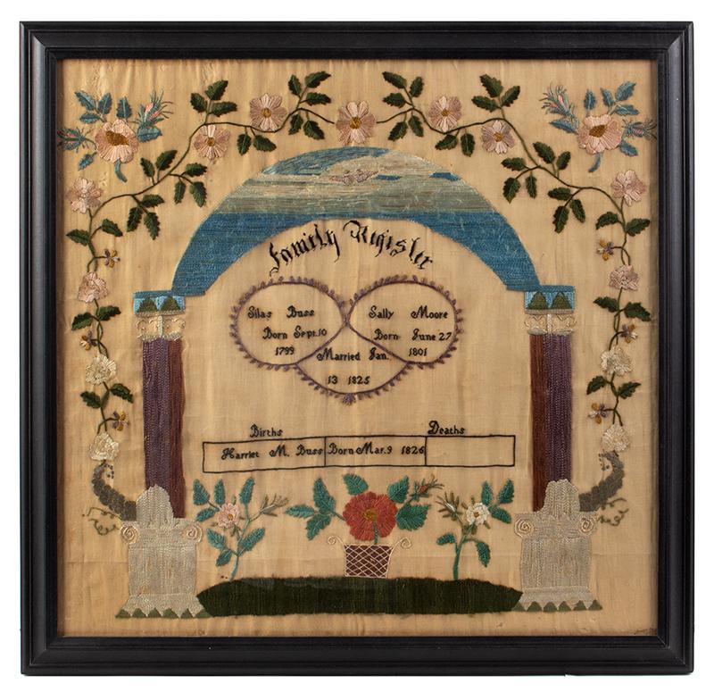 19th Century Needlework Family Register, Harriet M. Buss, Sterling, Massachusetts Harriet Buss Taught Former Slaves, entire view