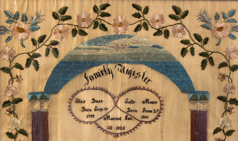 19th Century Needlework Family Register, Harriet M. Buss, Sterling, Massachusetts Harriet Buss Taught Former Slaves, detail view 1