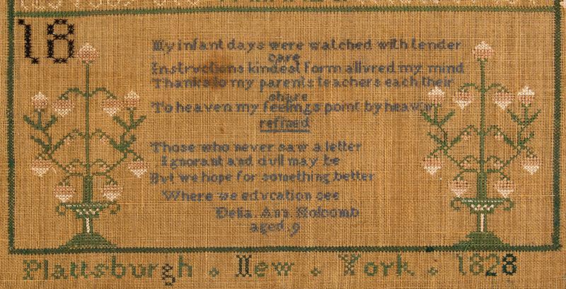 Sampler, Plattsburg, New York, 1828, Della Ann Holcomb, detail view 1