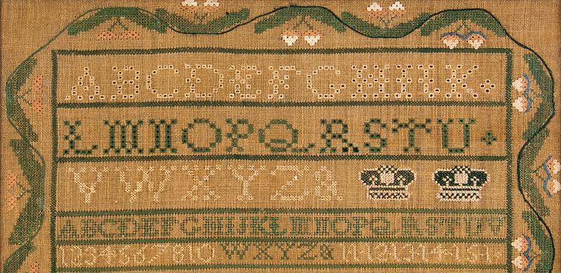 Sampler, Plattsburg, New York, 1828, Della Ann Holcomb, detail view 2