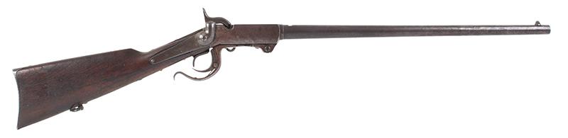Burnside Carbine by the Burnside Rifle Company, 54 Caliber percussion Breechloader  Designed by Ambrose Burnside, Treasurer & Partner of Bristol Firearms Company, right facing