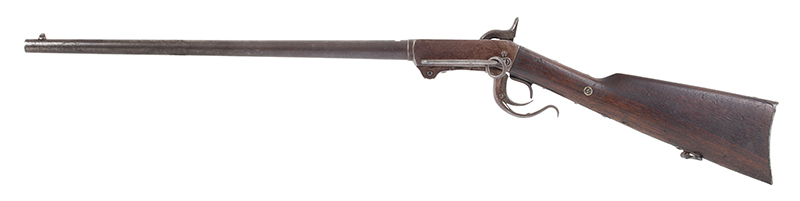 Burnside Carbine by the Burnside Rifle Company, 54 Caliber percussion Breechloader  Designed by Ambrose Burnside, Treasurer & Partner of Bristol Firearms Company, left facing