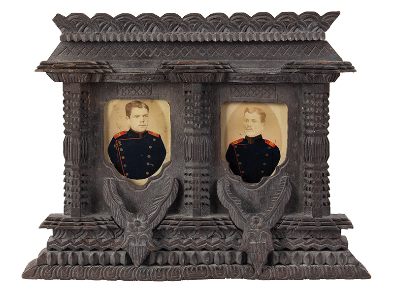 CDV, Carte de Visite Photographs, Double Images within Carved Standing Frame Anonymous…Appears to be brothers in uniform…, entire view