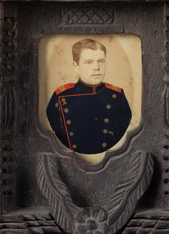 CDV, Carte de Visite Photographs, Double Images within Carved Standing Frame Anonymous…Appears to be brothers in uniform…, photo 1