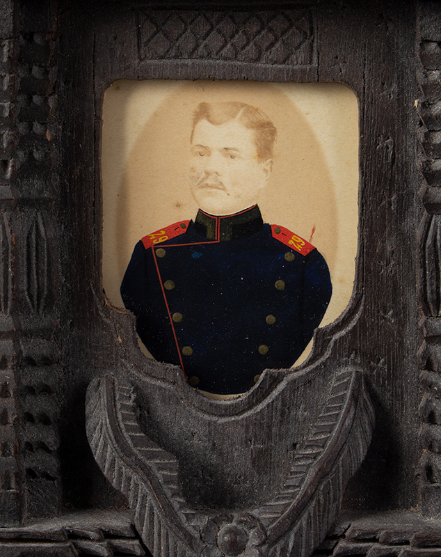 CDV, Carte de Visite Photographs, Double Images within Carved Standing Frame Anonymous…Appears to be brothers in uniform…, photo 2