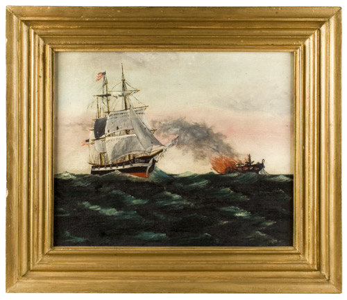 Painting, Brig Flying American Flag Rescues a Burning Ship, Maritime Fire, entire view