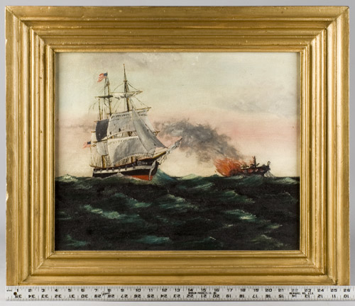 Painting, Brig Flying American Flag Rescues a Burning Ship, Maritime Fire, scale view