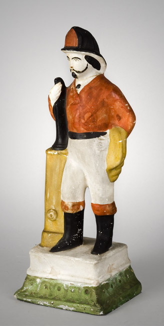 Molded & Paint Decorated Chalkware Fireman Figure, Rare Form, entire view