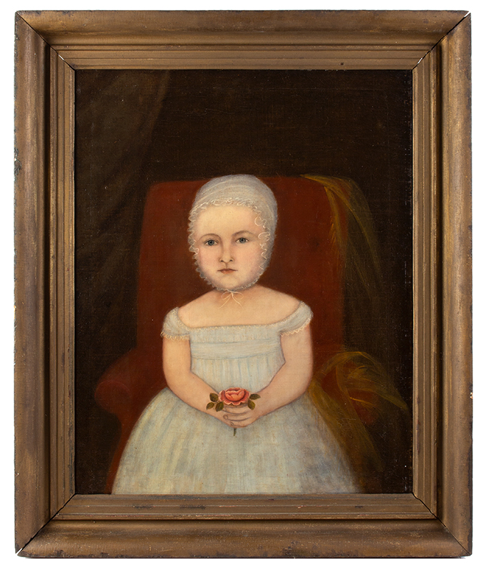 Folk Portrait, Young Child Holding Rose Seated in Upholstered Chair American School, New England, entire view