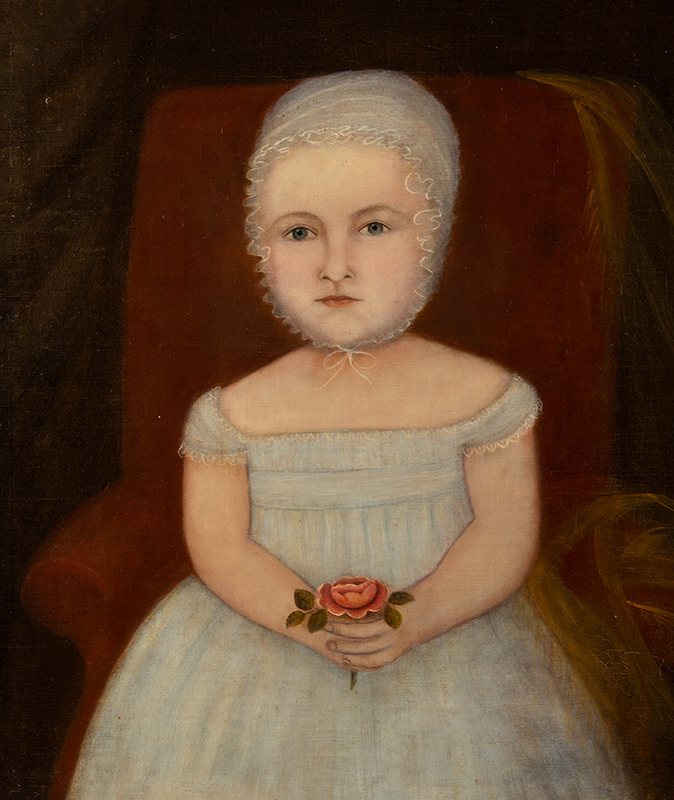 Folk Portrait, Young Child Holding Rose Seated in Upholstered Chair American School, New England, entire view sans frame