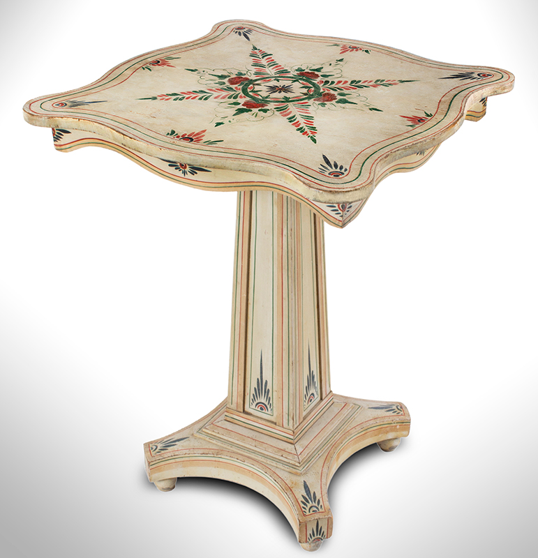 A Fine Country Classical Paint Decorated Center Table, Exquisite Design New England, Possibly Maine, entire view 1