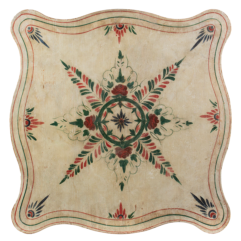 A Fine Country Classical Paint Decorated Center Table, Exquisite Design New England, Possibly Maine, top view