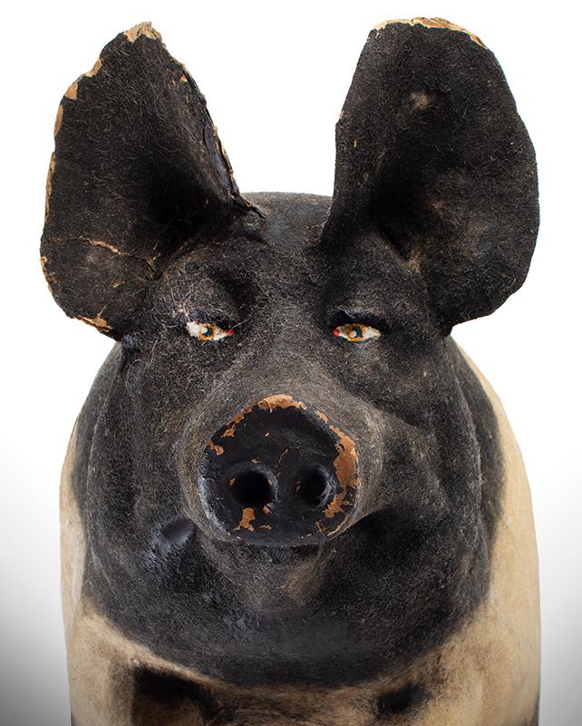 Paper Mache Pig, Butcher's Shop Window Decoration Old King Cole Paper Mache Co., Canton Ohio, face