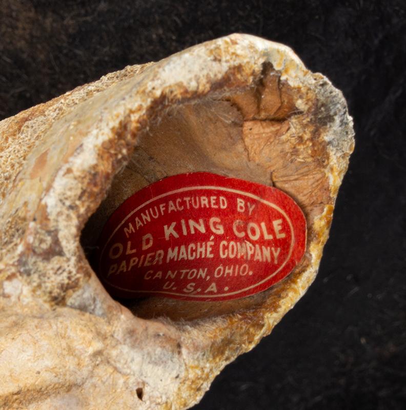 Paper Mache Pig, Butcher's Shop Window Decoration Old King Cole Paper Mache Co., Canton Ohio, label