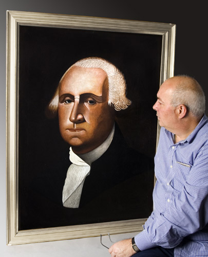 Folk Painting of George Washington by Michigan Barber Cyrus T. Fuery Exhibited at the Abby Aldrich Rockefeller Folk Art Museum, Colonial Williamsburg, 1976, dave for scale