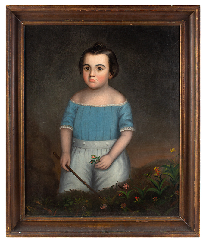 Folk Portrait, Young Boy in Blue Holding Whip in Field of Flowers American School, Anonymous, entire view