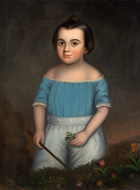 Folk Portrait, Young Boy in Blue Holding Whip in Field of Flowers American School, Anonymous, entire view sans frame