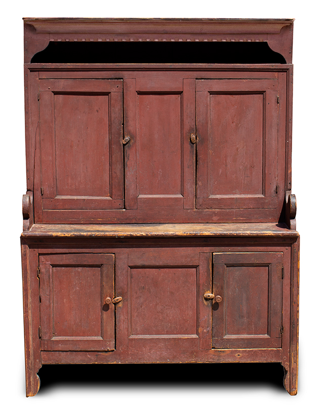 18th Century Hooded Cupboard, Mohawk Valley, New York, Original Salmon-Red Paint Outstanding Form & Surface, Small Size, Spectacular, Salmon-Red Painted Surface, entire view 1