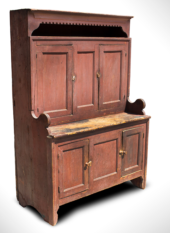 18th Century Hooded Cupboard, Mohawk Valley, New York, Original Salmon-Red Paint Outstanding Form & Surface, Small Size, Spectacular, Salmon-Red Painted Surface, entire view 2