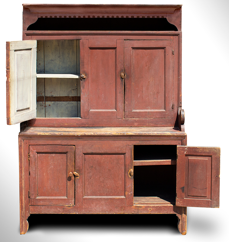 18th Century Hooded Cupboard, Mohawk Valley, New York, Original Salmon-Red Paint Outstanding Form & Surface, Small Size, Spectacular, Salmon-Red Painted Surface, entire view 3