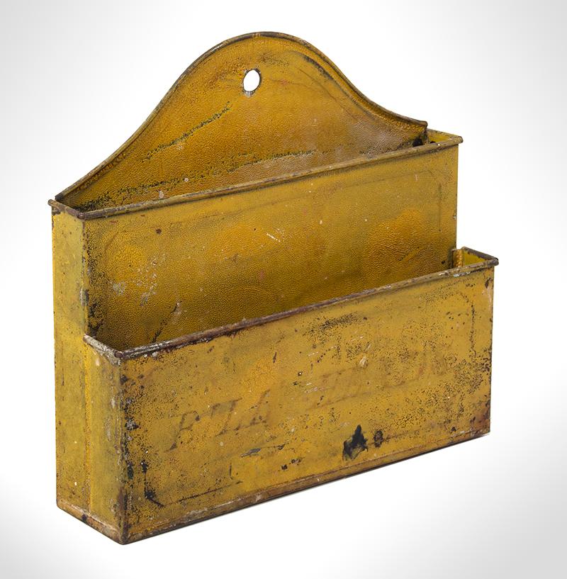 Wall Hanging Letter Box Lettered – BILL HEADS, Original Mustard Yellow Paint, entire view 1