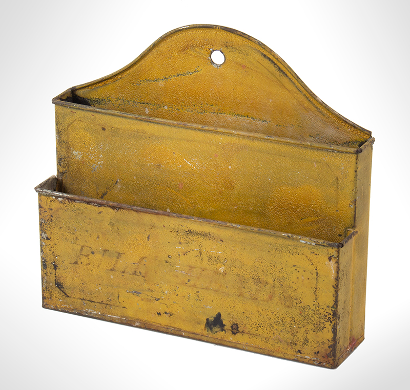 Wall Hanging Letter Box Lettered – BILL HEADS, Original Mustard Yellow Paint, entire view 2