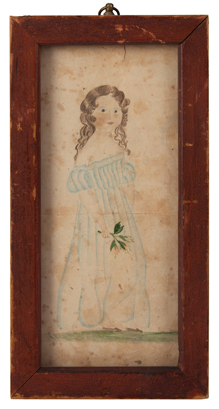American Folk Art Portrait, Young Girl Holding Sprig of Flowers, Full Length, entire view