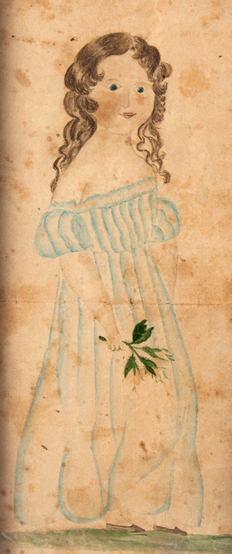 American Folk Art Portrait, Young Girl Holding Sprig of Flowers, Full Length, entire view sans frame