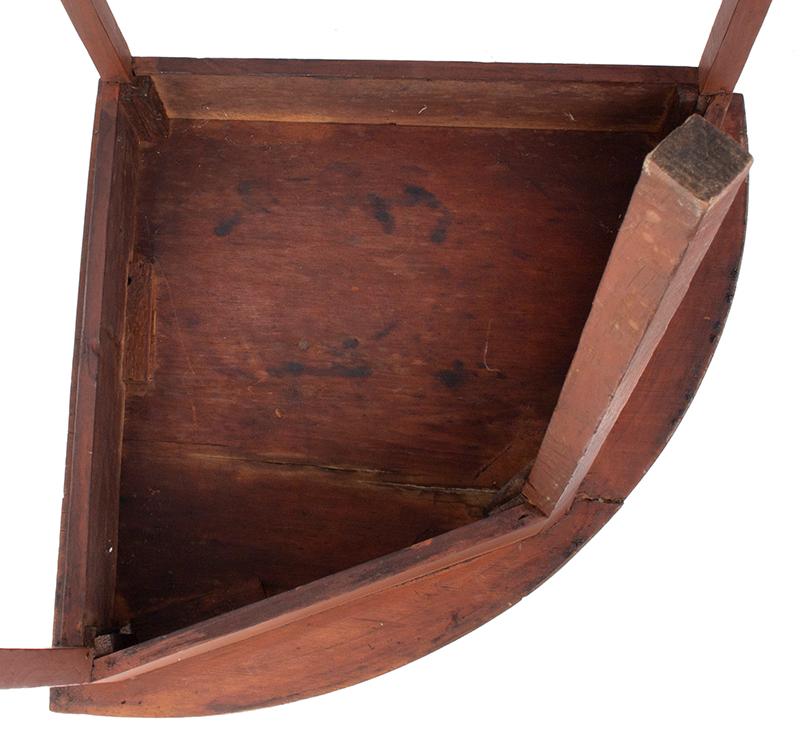 19th Century Hepplewhite Demilune Corner Table, underside view