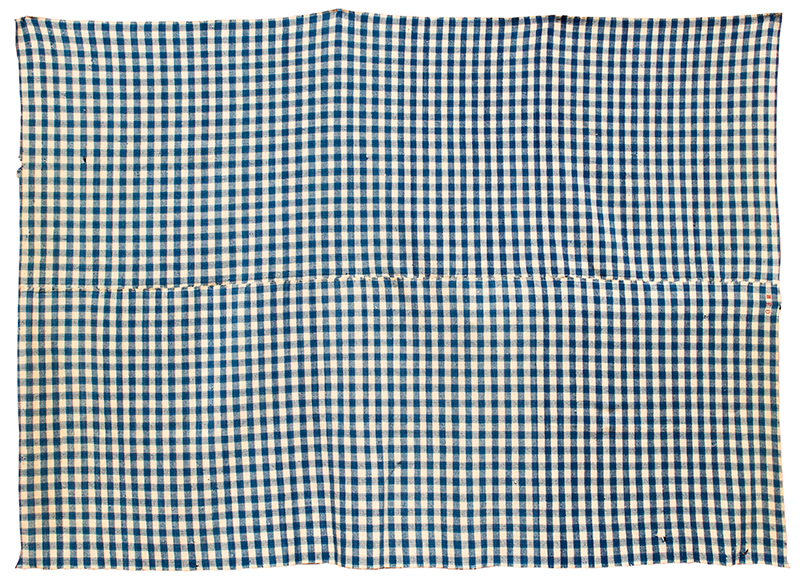 Blanket, Homespun, Blue & White Check, Red Stitched Initials: MED, entire view